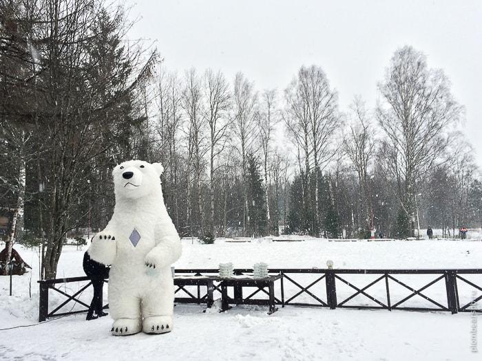 аниматор гигантский белый медведь на свадьбу в Питере