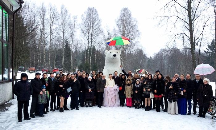 Белый медведь на свадьбу в Драгунском ручье Спб