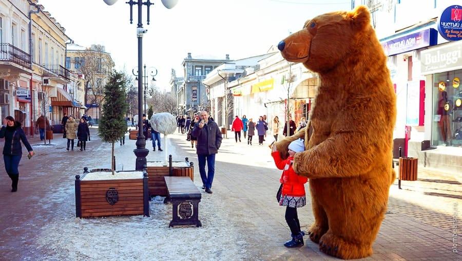 бурый медведь в центре Симферополя